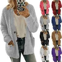 Womens Long Sleeve Fleece Fluffy Cardigan Sweater Pocket Coat Jacket Oversized L