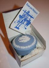 Auth. WEDGWOOD Fluted Trinket Box/Candy Box Aurora Blue Pottery Jasperware Round