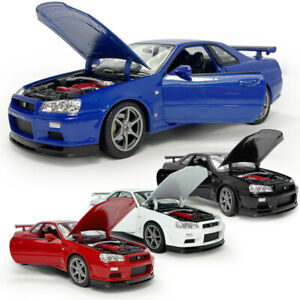 1:24 Scale Nissan Skyline GT-R (R34) Model Car Diecast Vehicle Collection Gift