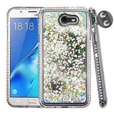 Clear Diamante Frame Silver Quicksand COVER FOR SAMSUNG Galaxy J7 Prim