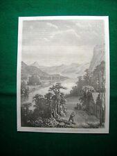 Kromo année 1860 China, Vue du Fleuve Amour, casque dans les monts, Oise hing-gan