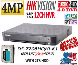 HIKVISION DS-7208HQHI-K1 4MP8CH HD-TVIDVR + 4CH IP CH WITH 2TB HDD INSTALLED