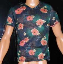 Barbie Doll Ken Fashionistas Floral Tee Tight Fitting Green Red