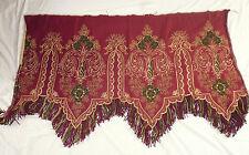 ancien french textile tenture silk cantonniere soie broderie rouge XIXe 130x76cm