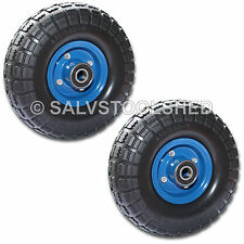 """2× 10"""" Puncture Proof Rubber Trolley Wheels Solid Flat Free Tire Tyre 20mm Bore"""