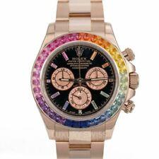 Rolex Daytona 18K Rose Gold Black Face Rainbow Marker & Bezel 116505 40mm UWWORN