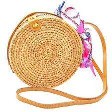 Handmade Round Rattan Bag Boho Shoulder Straw Bags Crossbody Beach Purse Women