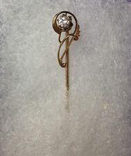 Antique 10K Rose Gold Stick Pin European Cut Diamond