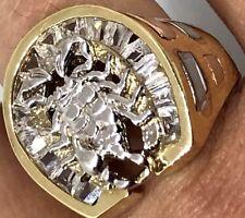 GOLD 14K Mens Ring scorpion Horseshoe Luck Simulated Diamond 10 8 9 11 12 11.7g