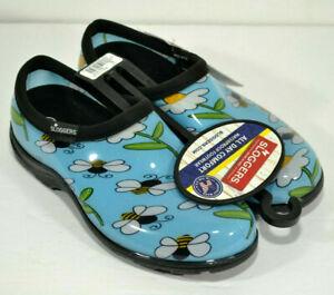 Sloggers Blue Bumble Bee Waterproof Shoes Women's Rain Daisy Flowers Sz 6 & 7