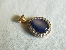 "Beautiful Pendant Gold Tone Clear Rhinestones Iridescent Blue Cabochon 1 3/8"" L"