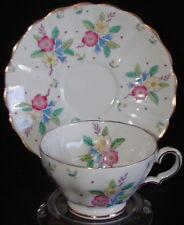 Copelands Grosvenor England Porcelain Demitasse Cup & Saucer Bouquet HP Floral