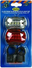 BikePlan - 5 LED Front and Rear Bicycle Light Set Tail Bulb Batteries Included