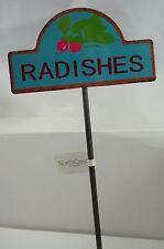 New listing Yard Garden Metal Pot Pick Stake Identification Marker Radishes #63