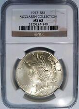 1922 Silver Peace Dollar NGC MS 63 McClaren Collection Hoard Pedigree Rare Coin