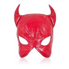 Faux Leather cat woman dominatrix Red mask/hood/head gear restraint Roleplay
