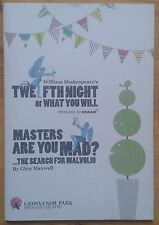 Twelfth Night & Masters Are You Mad? programme Grosvenor Open Air Theatre 2012