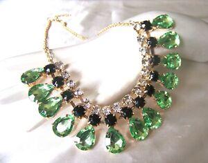 Stunning  Vintage Style Peridot Green Crystal  Rhinestone & Glass Necklace
