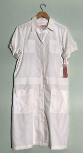 NWT Koi White Cassidy Button Down Dress Nurse Scrubs Large Womens NEW