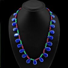 BEAUTIFUL AMAZING 300.00 CTS EARTH MINED RUBY, EMERALD & SAPPHIRE BEADS NECKLACE