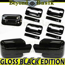 2009-2014 F150 Crew GLOSS BLACK Door Handle Covers noPK wKP+Mirror+Tailgate