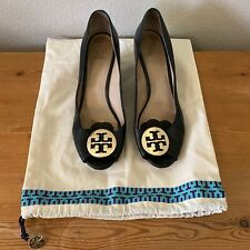 Tory Burch US Size 9.5 black leather Peep toe wedge shoes sandals