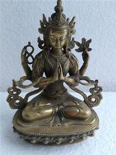 Antique Excellent Tibetan Green Tara Buddha Pure Bronze Old Lucky Statue