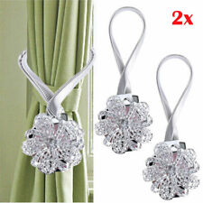 2xSilver Magnetic Curtain Tiebacks Crystal Tie Backs Buckle Clips Holdbacks Home