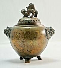Antikes asiatisches Räuchergefäß, Deckel, Bronze, vermutl. Tibet, H.14cm.  (1X8)