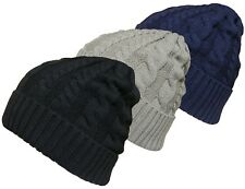 Mens or Womens Cable Knit beanie Hat Knitted Wollen Winter Skull Beanie Cap