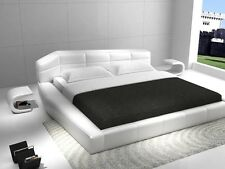RISHON - QUEEN SIZE MODERN DESIGN WHITE LEATHER PLATFORM BED