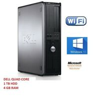 DELL QUAD CORE DESKTOP PC 9.32GHZ 1TB 4GB WINDOWS 10, COMPUTER TOWER 1 YR WRNTY