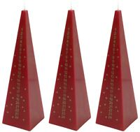 Advent Pyramid Candle Christmas Countdown Dinner Candle Red 21cm Tall Set Of 3