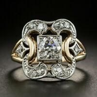 Retro Luxus Zwei Ton Kristall Strass Zirkon Fingerring Ring Damen Hochzeit Ringe