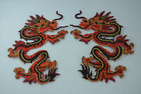 2x 12cm RED BLACK GOLD DRAGON Embroidered Sew Iron On Cloth Patch Badge APPLIQUE