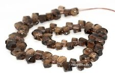 12X8MM  SMOKY QUARTZ GEMSTONE FACETED NUGGET LOOSE BEADS 7""