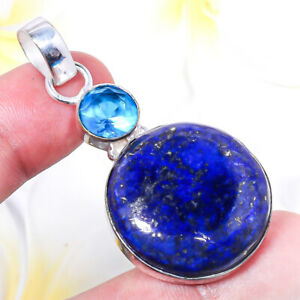A+ Lapis Lazuli Gemstone 925 Sterling Silver Handmade Pendant Jewelry E835