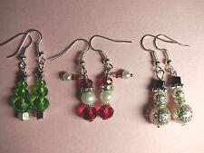 Christmas Tree & Santa Claus & Snowmen Crystal Pearl  Earrings