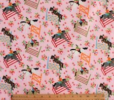 """SNUGGLE FLANNEL*EQUESTRIAN* JUMPING HORSES on PINK*100% Cotton Fabric* 2 Yd 24"""""""