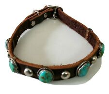 Kingman Turquoise Leather Dog Collar