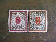 Danzig freie stadt 50 et 100 mark lot 2 timbres ancien 1922