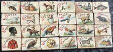 Antique Wooden Children's Blocks Alphabet 24 Pieces Beautiful Lithograph