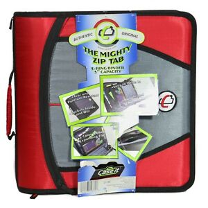 Case It 3-Inch Mighty Zip Tab Zipper Binder 5-Color Tabbed O Rings Handle Office