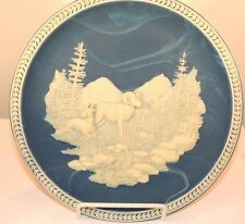 Beneath the Open Sky Incolay raised Bighorn Sheep 1992 Bradex Plate #0711A(8007)