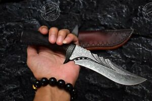 HUNTING DAMASCUS BOWIE KNIFE RESCUE SURVIVAL KNIFE COLLECTIBLE HANDMADE KNIFE
