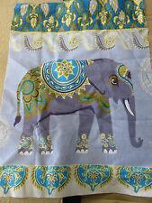 Indio elefante elefantes Azul Verde Azulado Oro Gris remanente de Tela Pieza 40x30cm