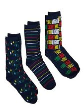 Holiday Socks You Light Me Up Christmas Lights Mens 3 Pair Crew Socks OSFM