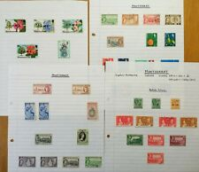 MONTSERRAT: 40 Stamps on Vintage Album Pages. See All Photos.