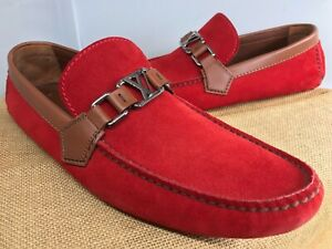AUTH LOUIS VUITTON HOCKENHEIM LOAFERS DRIVING SHOES 8.5 LV US 9.5 MADE IN ITALY