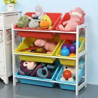 Solid Wood Toy Storage Rack Kids' Toy Storage Organizer Shelf With 6 Storage Box